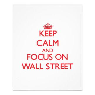 Mantenha a calma e o foco em Wall Street Panfletos