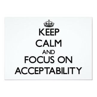 Mantenha a calma e o foco na aceitabilidade convite personalizado