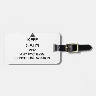 Mantenha a calma e o foco na aviação comercial tags para bagagens