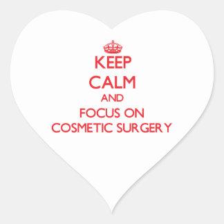 Mantenha a calma e o foco na cirurgia estética adesivo coração