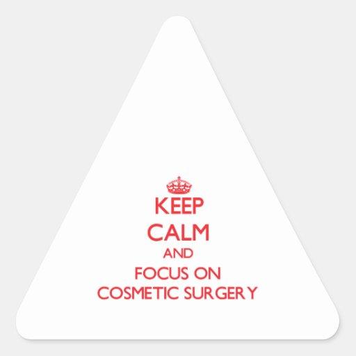 Mantenha a calma e o foco na cirurgia estética adesivo triângulo