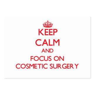 Mantenha a calma e o foco na cirurgia estética cartão de visita grande