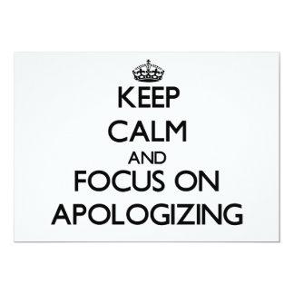 Mantenha a calma e o foco na desculpa convite personalizados