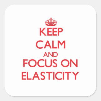 Mantenha a calma e o foco na ELASTICIDADE Adesivos Quadrados
