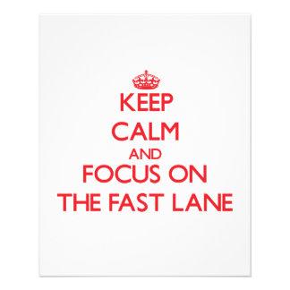 Mantenha a calma e o foco na faixa rápida panfleto