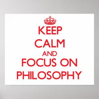 Mantenha a calma e o foco na filosofia pôster