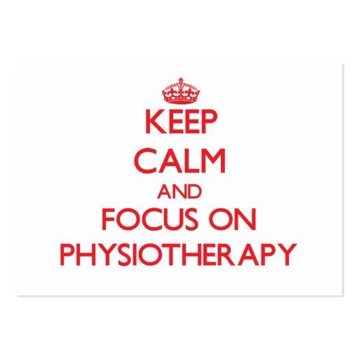 Mantenha a calma e o foco na fisioterapia cartoes de visita