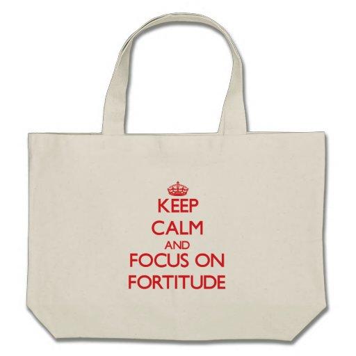 Mantenha a calma e o foco na fortaleza bolsas de lona