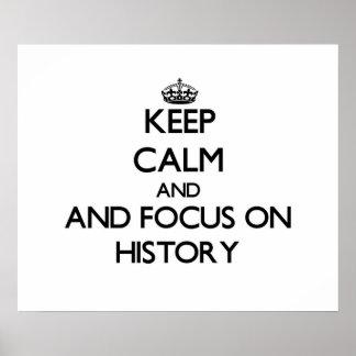 Mantenha a calma e o foco na história pôsteres