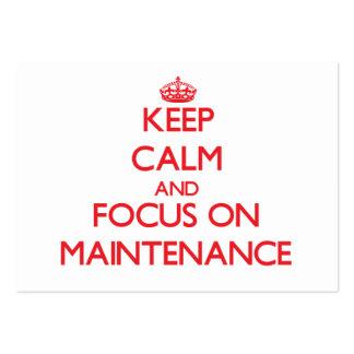 Mantenha a calma e o foco na manutenção modelo cartões de visita