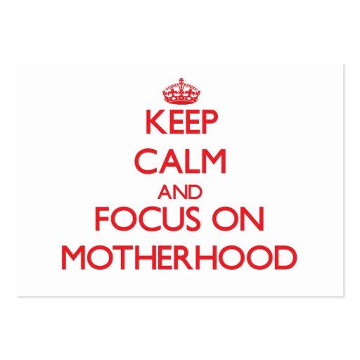Mantenha a calma e o foco na maternidade cartao de visita
