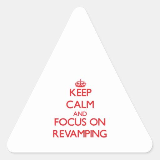 Mantenha a calma e o foco na melhora adesivo em forma de triângulo
