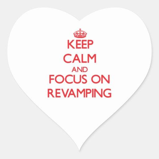Mantenha a calma e o foco na melhora adesivos em forma de corações