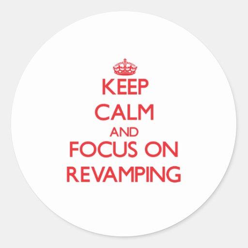 Mantenha a calma e o foco na melhora adesivos em formato redondos
