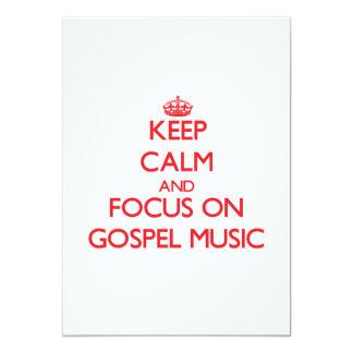 Mantenha a calma e o foco na música de evangelho convite 12.7 x 17.78cm
