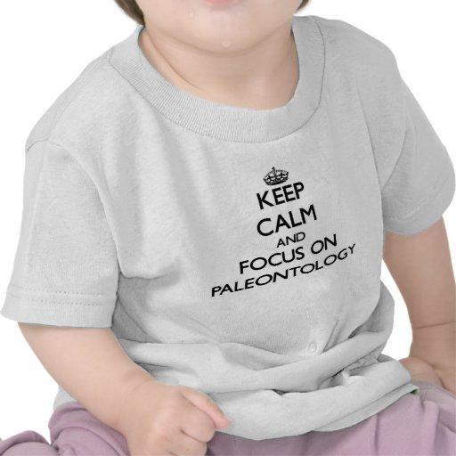 Mantenha a calma e o foco na paleontologia t-shirts