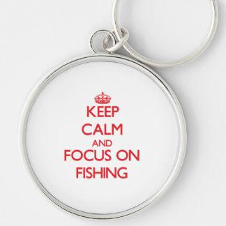 Mantenha a calma e o foco na pesca chaveiro