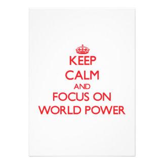 Mantenha a calma e o foco na potência mundial convites personalizado