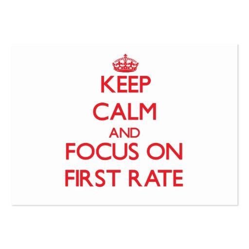 Mantenha a calma e o foco na primeira taxa cartões de visitas