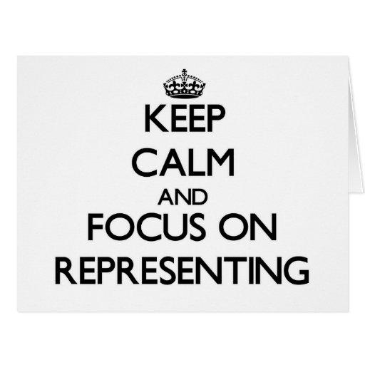 Mantenha a calma e o foco na representação cartões