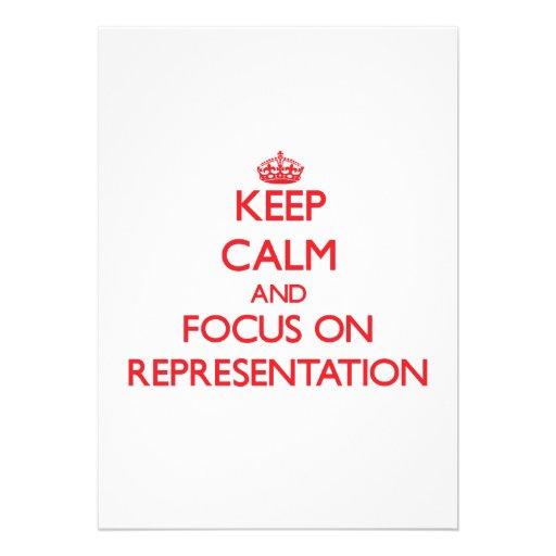 Mantenha a calma e o foco na representação convite personalizados