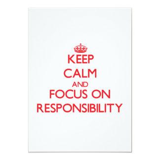 Mantenha a calma e o foco na responsabilidade convite