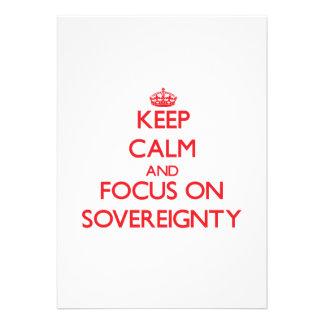 Mantenha a calma e o foco na soberania convite personalizados