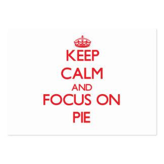 Mantenha a calma e o foco na torta cartoes de visitas