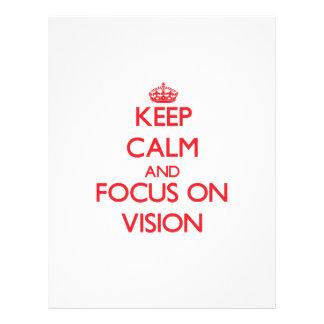Mantenha a calma e o foco na visão modelo de panfleto