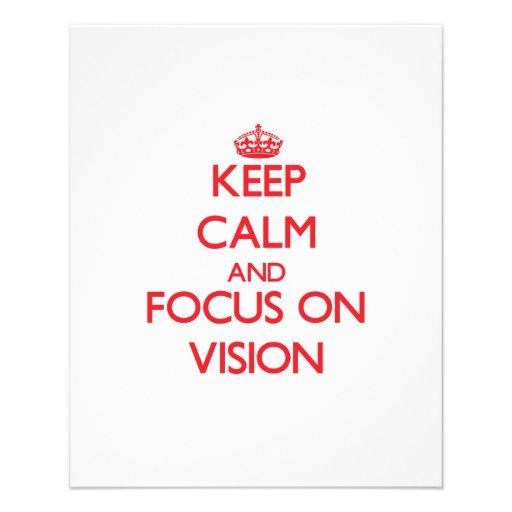 Mantenha a calma e o foco na visão panfletos coloridos