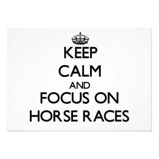 Mantenha a calma e o foco nas corridas de cavalos convite personalizados