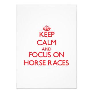 Mantenha a calma e o foco nas corridas de cavalos convites personalizados