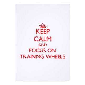 Mantenha a calma e o foco nas rodas de treinamento convite personalizados