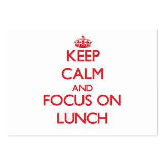 Mantenha a calma e o foco no almoço modelo cartões de visita