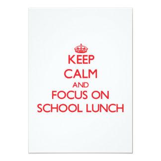 Mantenha a calma e o foco no almoço escolar convite 12.7 x 17.78cm