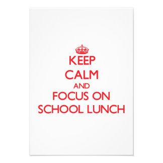 Mantenha a calma e o foco no almoço escolar convites personalizado