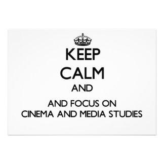 Mantenha a calma e o foco no cinema e nos estudos convites personalizado