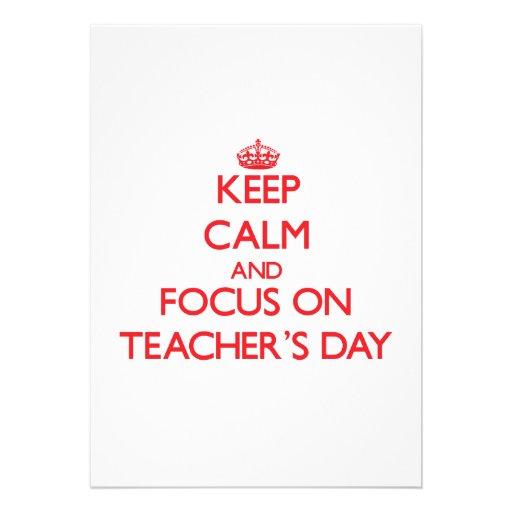 Mantenha a calma e o foco no dia dos professores convite personalizados