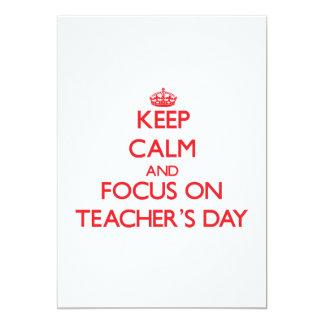 Mantenha a calma e o foco no dia dos professores convite 12.7 x 17.78cm