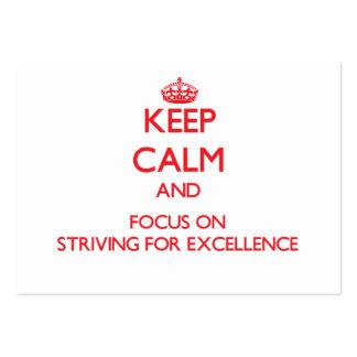 Mantenha a calma e o foco no esforço para a excelê cartões de visitas