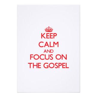 Mantenha a calma e o foco no evangelho convites personalizados