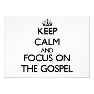 Mantenha a calma e o foco no evangelho convite personalizados