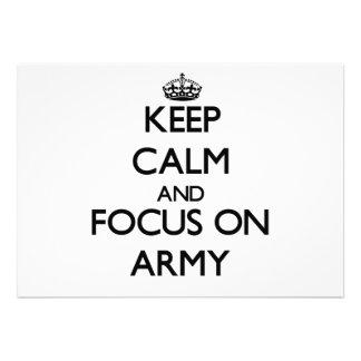 Mantenha a calma e o foco no exército