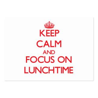 Mantenha a calma e o foco no hora do almoço modelos cartao de visita