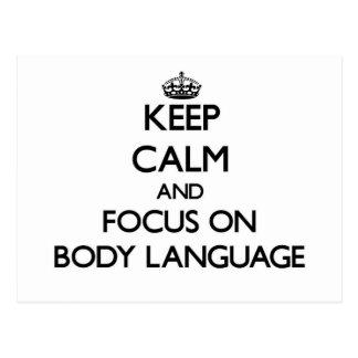 Mantenha a calma e o foco no linguagem corporal cartao postal