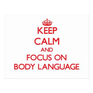 Mantenha a calma e o foco no linguagem corporal cartões postais