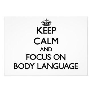 Mantenha a calma e o foco no linguagem corporal convite personalizado