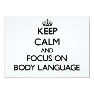 Mantenha a calma e o foco no linguagem corporal convite 12.7 x 17.78cm