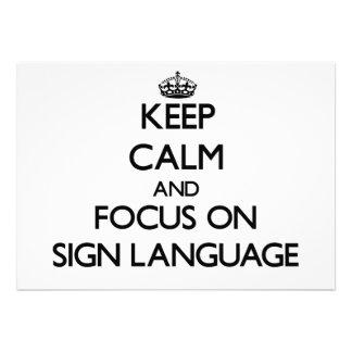 Mantenha a calma e o foco no linguagem gestual
