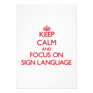 Mantenha a calma e o foco no linguagem gestual convite personalizados